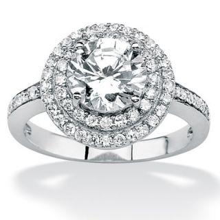 Palm Beach Jewelry Platinum/Silver Round Cubic Zirconia Pave Ring