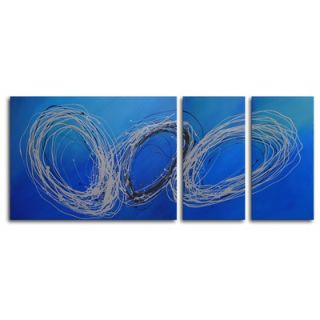 My Art Outlet Hand Painted Coils of Wire 3 Piece Canvas Art Set