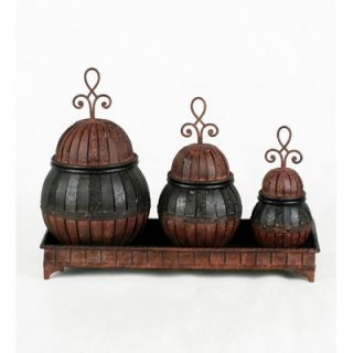 Privilege Three Piece Decorative Canister and Tray Set