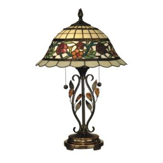 Dale Tiffany Two Light Table Lamp in Antique Bronze