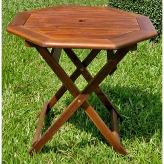 International Caravan Acacia Patio Octagonal Folding Dining Table