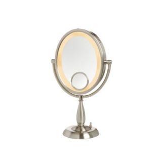 Jerdon 10X Nickel Oval Lighted Vanity Mirror