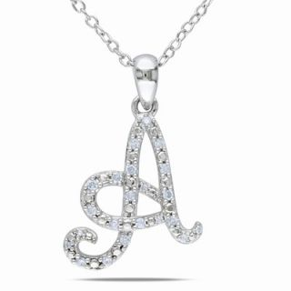 Amour Amour Sterling Silver Diamond Initial Pendant Necklace