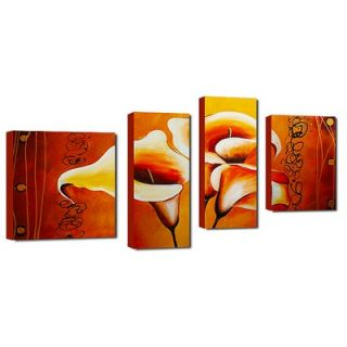 My Art Outlet Hand Painted Trio in Orange 4 Piece Canvas Art Set
