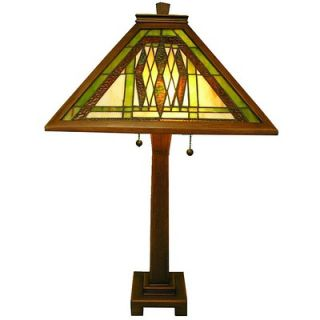 Warehouse of Tiffany Mission Oak Wood Table Lamp   647+WB20