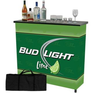 Trademark Global Bud Light Lime 2 Shelf Portable Bar Table with Case