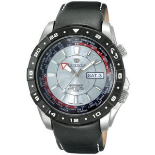 Springs Automatic Travel Mens Watch with Black Leather Band