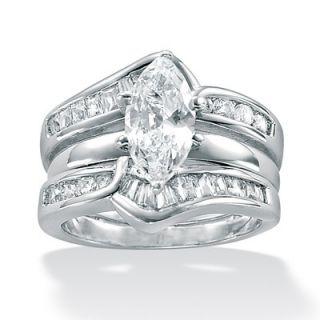 Palm Beach Jewelry Sterling Silver 2 Piece Cubic Zirconia Wedding Ring