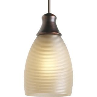 Progress Lighting Illuma Flex Mini Pendant in Ridged Topaz Glass and