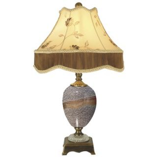 Dale Tiffany Granite Stone Table Lamp in Antique Brass