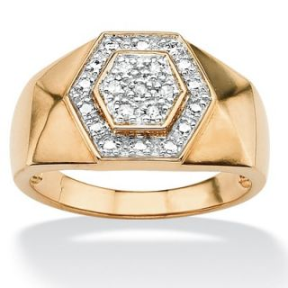 Palm Beach Jewelry 18k Gold/Silver Mens Round Diamond Hexagon Ring