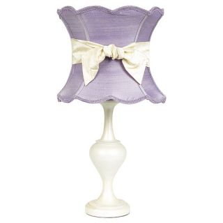 Curvature Large Table Lamp with Lavender Scallop Hourglass Shade