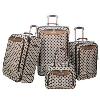 Olympia Spearmint Polka Dot 4 Piece Luggage Set   D 6000 4 SV