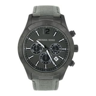 Michael Kors Mens Classic Canvas Strap Watch with Black Chronograph
