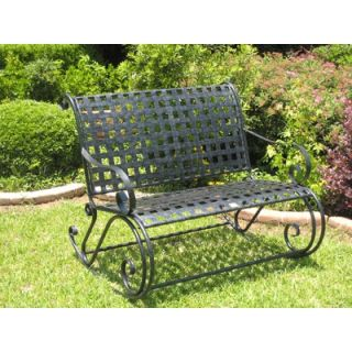 International Caravan Mandalay Wrought Iron Garden Bench