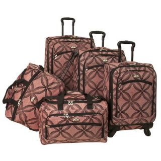American Flyer Silver Clover 5 Piece Spinner Luggage Set   88900 5