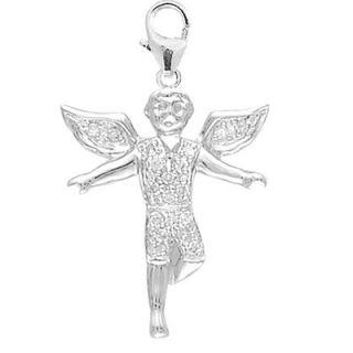 EZ Charms 14K White Gold Diamond Boy Angel Charm