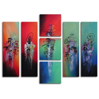 My Art Outlet Hand Painted Hanging Lanterns 7 Piece Canvas Art Set