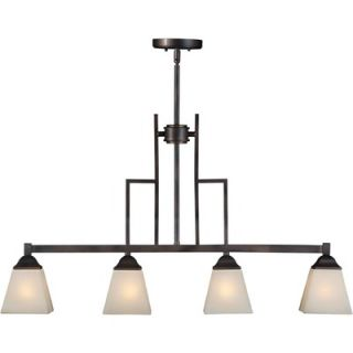 Forte Lighting Four Light Island Pendant with Umber Shade in Antique
