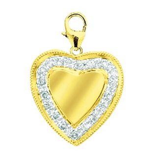 EZ Charms 14K Yellow Gold Diamond Heart Disc Charm