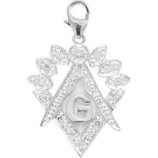 EZ Charms 14K White Gold Diamond Masonic Symbol Charm