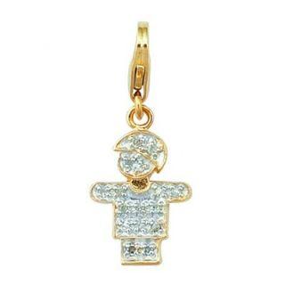 EZ Charms 14K 0.8 Grams Yellow Gold Diamond 0.08Ct Boy Hugs Charm