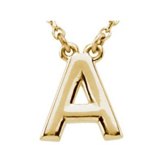 Jewelryweb 14k Yellow Gold Gold Fashion Block Initial Necklace a 16