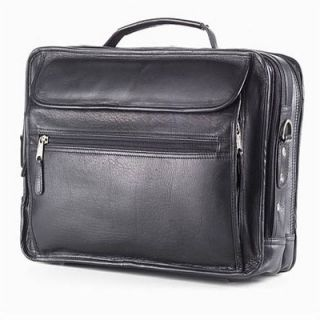 Clava Leather Vachetta Extra Large Laptop Briefcase in Black