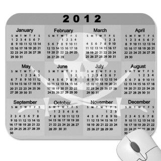 2012 Calendar PIRATE SKULL AND CROSSBONES JOLLY RO Mouse Pad