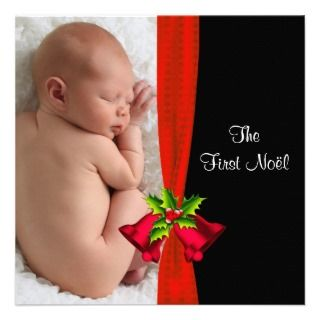 Red Bells Babys First Christmas Photo Card Personalized Announcement