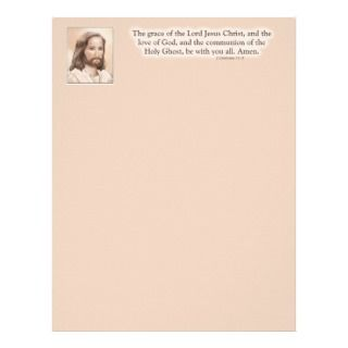 Sepia Jesus Art Bible Quote   2 Corinthians 13:14 Letterhead Design