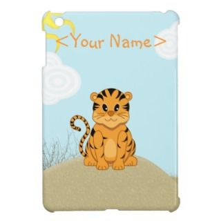 Cute Cartoon Tiger Cub Desert Scene iPad Mini Cases