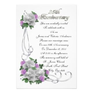 25th Wedding anniversary vow renewal White roses Personalized