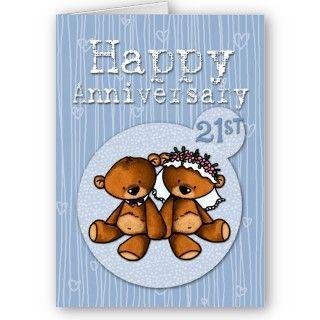 happy anniversary bears   21 year greeting card