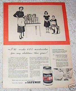 1952 Lunch Box Sandwich Spread Safeway Grocery Food Ad