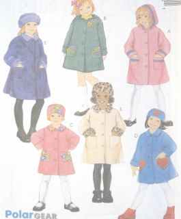 Childs Unlined Coat Hat Sewing Pattern A Line Hood Collar Options