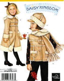 Childs Coat Vest Scarf Hat Sewing Pattern Yoke Hood Fringe Simplicity