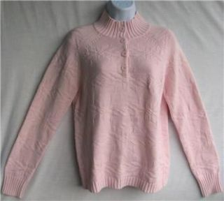 North Crest Cable Knit Sweater 1 3 Button Front Soft Pink NWT SRP $40