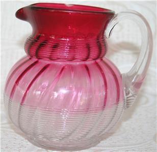 Northwood JEWEL~THREADED SWIRL RUBINA~Pitcher Cranberry Ruby Glass