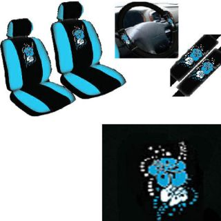 9pc blue hawaiian floral flower front bucket car seat covers steering