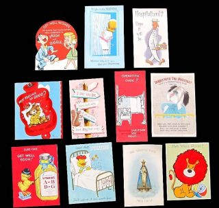 Vintage Greeting Cards Get Well Soon Sick Hospital Nurse Operation 60s