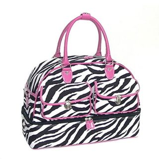 Zebra Print w Pink Trim Shoe Bag Carryon Luggage