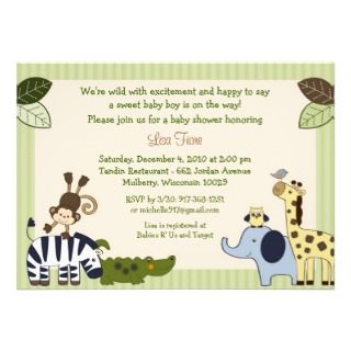 Jungle Animal Adventure Baby Shower Invitation