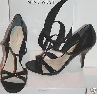 Nine West Hayek Black Patent T Strapsandals Heels Shoes