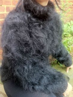 Thick Hand Knitted Longhair Wool Hayfield Mohair Sweater in Night Sky