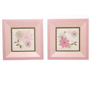 Nautica Haylie 2 Piece Framed Wall Art Girls Nursery Pink Brown Floral