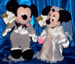 Disney Wedding Mickey Mouse Minnie Stuffed Plush Beanbag Toy 8 Bride