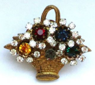 MIRIAM HASKELL Brooch Pin Rhinestone 1 Basket Old Costume Jewelry