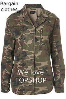 NEW * EX TOPSHOP CAMO ARMY JACKET KHAKI RRP £48 6 8 10 12 14 16