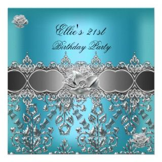 21st Birthday Elegant Teal Blue Silver Floral Invites